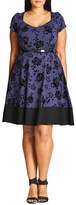 City Chic Plus Size Women's Flocked Lover Fit & Flare Dress