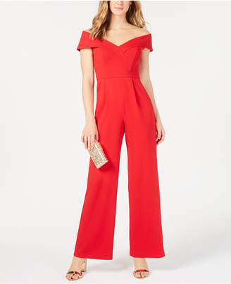 Xscape Evenings Off-The-Shoulder Crepe Jumpsuit