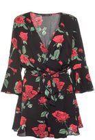 Quiz Black and Red Rose Print Frill Playsuit