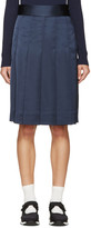 Nomia Navy Pleated Satin Skirt