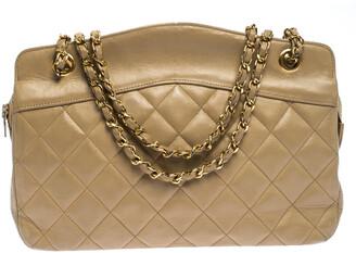 Chanel Beige Lambskin Quilted Shoulder Bag