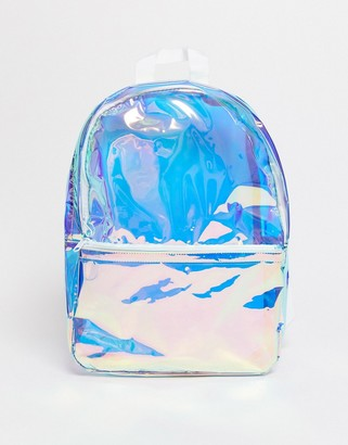Asos DESIGN backpack in iridescent plastic
