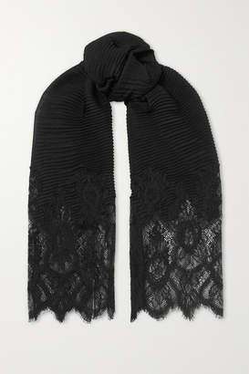 Valentino Garavani Lace-paneled Plisse Cashmere And Wool-blend Scarf - Black