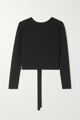 Matteau Tie-back Stretch-knit Top - Black