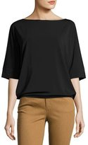 Lafayette 148 New York Bateau-Neck Relaxed Crepe Jersey Top, Black