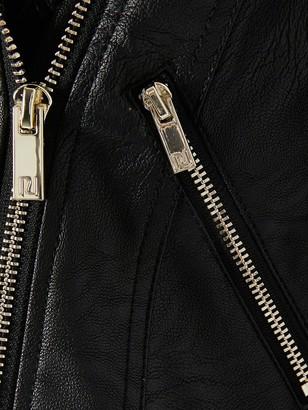 River Island Girls Faux Fur Cuff Biker jacket-Black