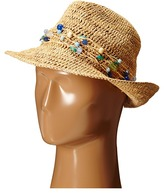 Hat Attack Raffia Open Weave Fedora with Multi Stone Trim