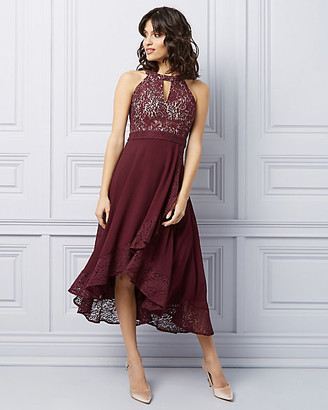 Le Château Lace High-Low Halter Cocktail Dress