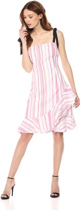 Donna Morgan Women's Striped Fit and Flare Dress with Ruffle Skirt