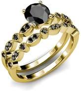 TriJewels Diamond Milgrain Work Bridal Set Ring & Wedding Band 1.25 ct tw in 14K White Gold.size 7.5