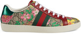 Gucci New Ace GG Floral Sneakers in Beige Ebony | FWRD
