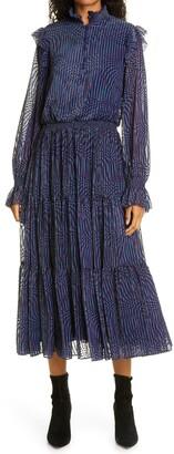 Tanya Taylor Cooper Ruffle Long Sleeve Midi Dress