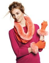 Sofia Cashmere Snood Scarf with Fox Fur Trim
