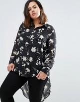 Koko Plus Dip Back Blouse In Floral Print