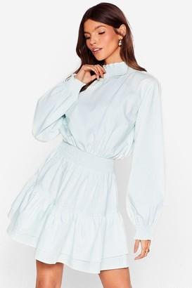 Nasty Gal Womens Frill I Found You High Neck Mini Dress - Mint
