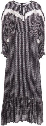 Sandro Marceau Lace-trimmed Floral-print Satin-jacquard Midi Dress