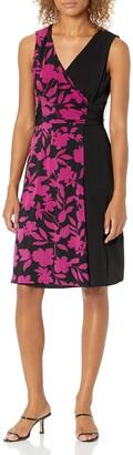Donna Morgan Women's Sleeveless Faux Wrap Color Block Matte Jersey Dress