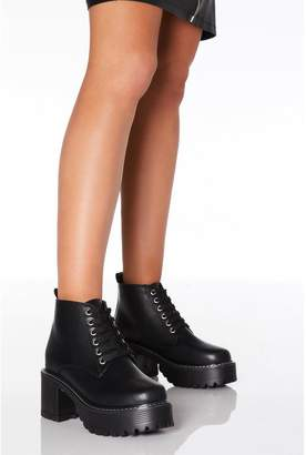 Quiz Black Faux Leather Lace Up Chunky Heeled Boots