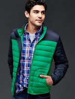 Gap ColdControl Lite stretch colorblock puffer jacket