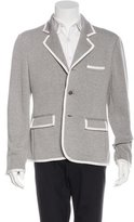 Black Fleece Grosgrain-Trimmed Knit Blazer