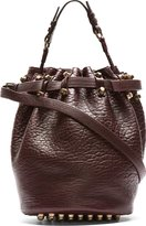 Alexander Wang Burgundy Leather Studded Diego Bucket Bag
