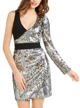 Bebe Juniors' Sequin One-Sleeve Dress