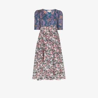 Dragon Optical Rentrayage Womens Blue Lady Floral Print Dress