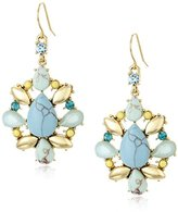 Carolee The Blue Line Gold-Tone and Simulated Turquoise Earrings