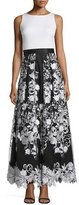 Aidan Mattox Sleeveless Combo Floral-Skirt Dress