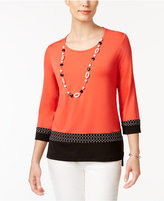 Alfred Dunner Petite Contrast-Hem Top & Necklace