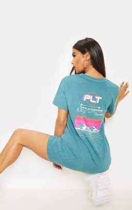 PrettyLittleThing Teal Mountain Slogan Oversized T Shirt Dress