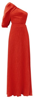 Johanna Ortiz Lava Shimmering Blush One-shoulder Cloque Dress - Red