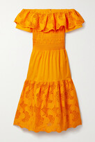 Thumbnail for your product : Self-Portrait Off-the-shoulder Broderie Anglaise Cotton-poplin Midi Dress - Orange