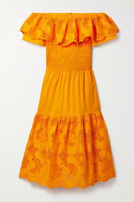 Self-Portrait Off-the-shoulder Broderie Anglaise Cotton-poplin Midi Dress - Orange