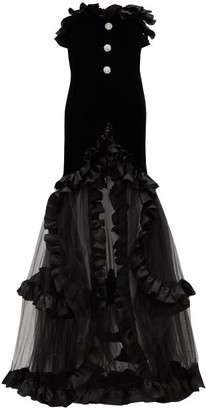 Alessandra Rich Crystal-button Ruffle-trimmed Velvet & Tulle Gown - Womens - Black