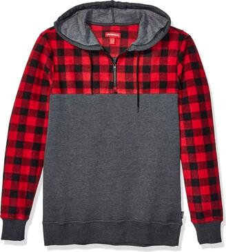 UNIONBAY Men's Fleece Henley Hoodie Quarter Zip Flannel Checkered