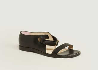 An Hour And A Shower - Black Miso Flat Leather Sandals - leather | 36 | black - Black/Black