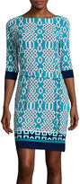 Liz Claiborne 3/4-Sleeve Print Shift Dress