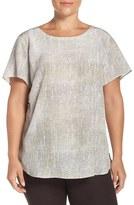Eileen Fisher Plus Size Women's Ballet Neck Print Silk Top