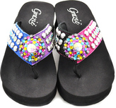 Grazie Fuchsia & Blue Lineal Leather Flip-Flop