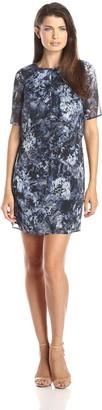 Andrew Marc Women's Short Sleeve Printed Popover Dress