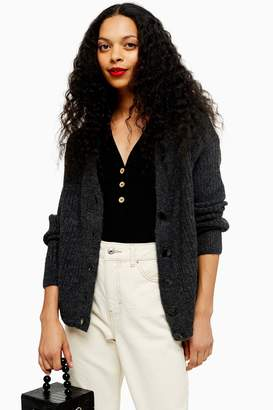 Topshop Womens Petite Charcoal Grey Super Soft Ribbed Cardigan - Charcoal