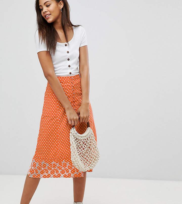 Asos Tall Design Tall Polka Dot Print Midi Skirt With Embroidered Hem