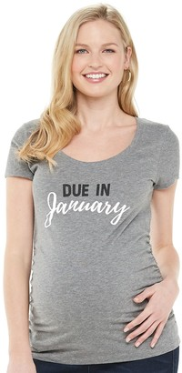 """A Glow Maternity a:glow """"Due in"""" Month Graphic Tee"""