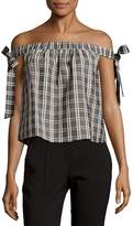 MinkPink Women's Plaid Shoulder Tie-Up Top - Grey