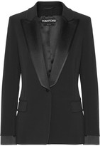 Tom Ford Satin-trimmed Stretch-cady Blazer - Black