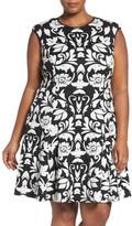 Vince Camuto Texture Knit Fit & Flare Dress (Plus Size)