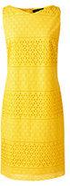Classic Women's Petite Sleeveless Eyelet Shift Dress-Sunny Yellow