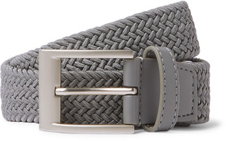 adidas 3.5cm Faux Leather-Trimmed Woven Elastic Belt