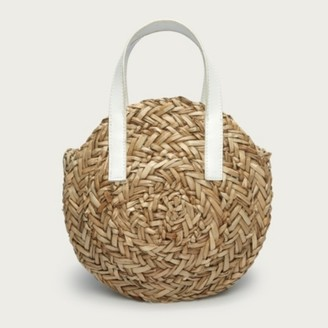 The White Company Mini Moon Straw Leather Basket Bag, Natural, One Size